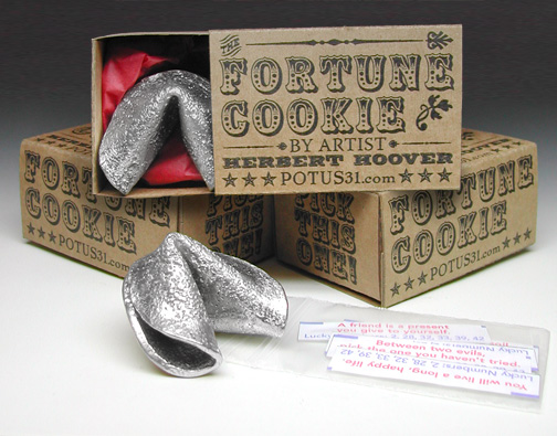 Fortune Cookie - pewter casting in retro box life-sized